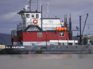 MV Grayling tug pushing the gravel barge