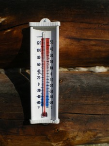 Thermometer on the deck of the house; Oct. 11